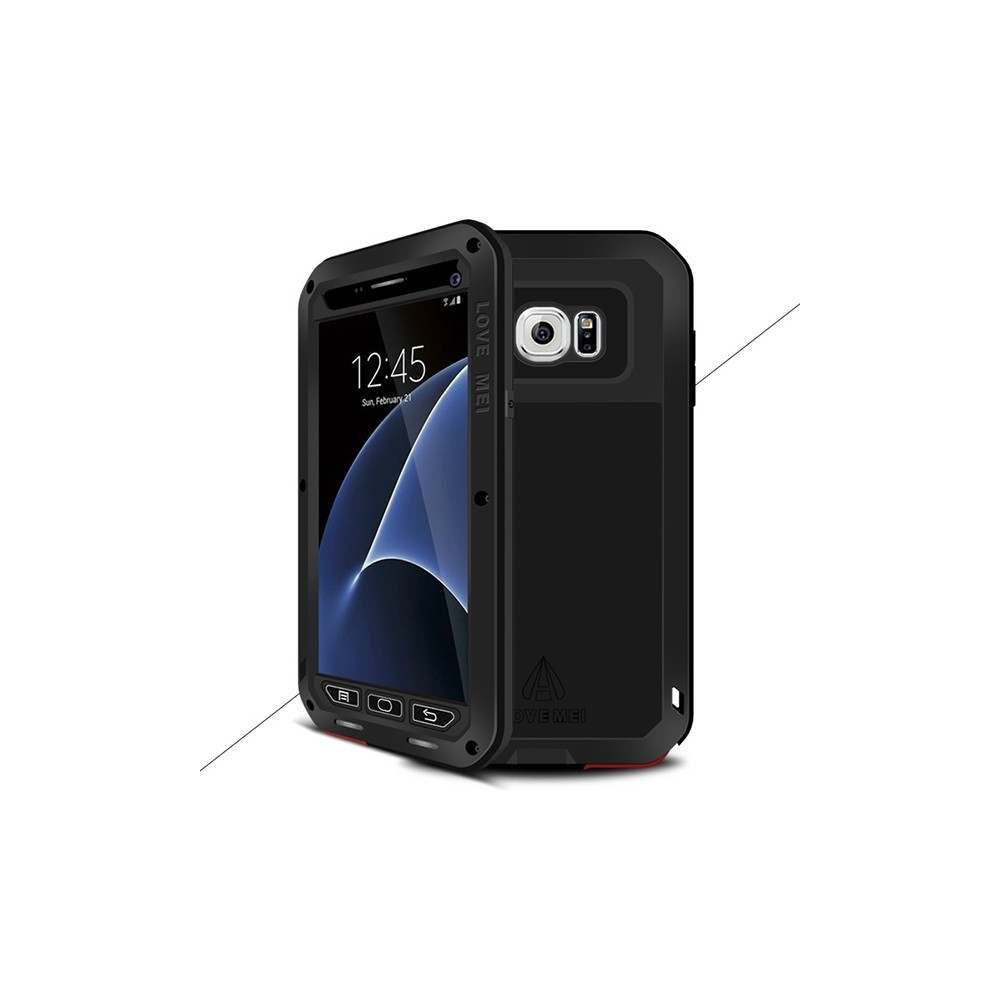 coque galaxy s7 etanche antichocs aluminium noire love mei. Black Bedroom Furniture Sets. Home Design Ideas