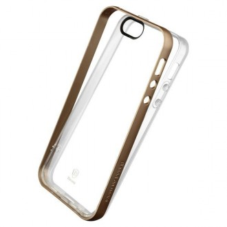 Coque iPhone SE / 5 / 5s Transparente avec bumper doré - Baseus