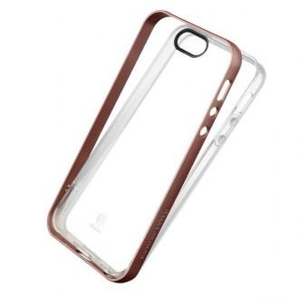 Coque iPhone SE / 5 / 5s Transparente avec bumper rose- Baseus