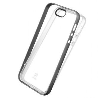 Coque iPhone SE / 5 / 5s Transparente avec bumper gris - Baseus