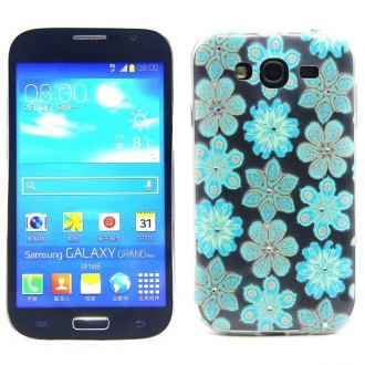 Coque Samsung Galaxy Grand Neo motif Fleurs bleues et strass - Crazy Kase