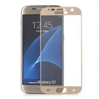Film Galaxy S7 protection écran verre trempé contour doré