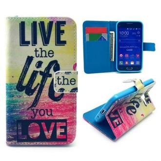 Etui Galaxy Core Prime Multi-couleurs motif Live the Life - Crazy Kase