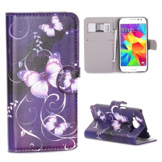 Etui Galaxy Core Prime motif Papillons Violets - Crazy Kase