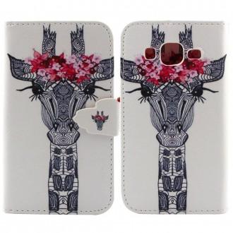 Etui Galaxy Core Prime motif Tête de Girafe et Fleurs Roses - Crazy Kase