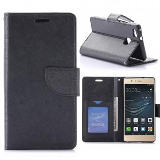Etui Huawei P9 Lite Porte-cartes uni Noir - Crazy Kase