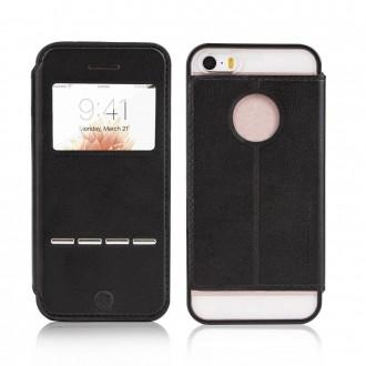 Etui iPhone 5SE / 5S / 5 Noir avec fenêtre - G-Case