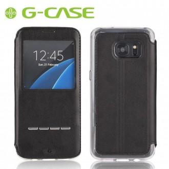 Etui Galaxy S7 Edge Noir avec fenêtre - G-Case