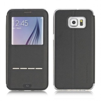 Etui Galaxy S6 Edge Plus Noir avec fenêtre - G-Case