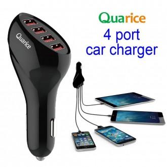 Chargeur allume-cigare noir 4 ports USB pour smartphone et tablette - Quarice