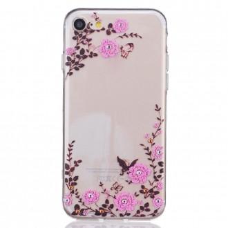 Coque iPhone 7 Transparente souple motif papillons et fleures - Crazy Kase