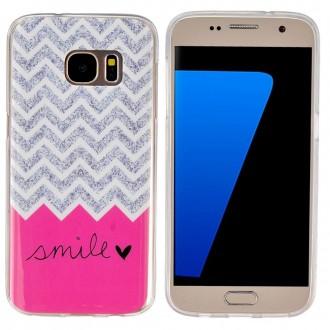 Coque Galaxy S7 motif Smile Rose et Grise - Crazy Kase
