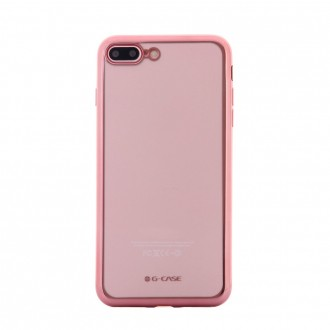 Coque iPhone 8 Plus/7 Plus Transparente contour Rose - G-Case