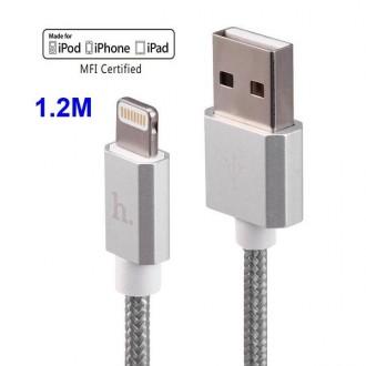 Câble USB vers Lightning Gris 1.2m - Hoco