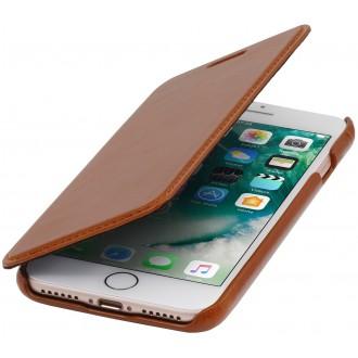 Etui iPhone 7 book type Cognac en cuir véritable sans clip de fermeture - Stilgut