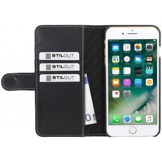 Etui iPhone 7 Plus Porte-cartes noir nappa en cuir véritable - Stilgut