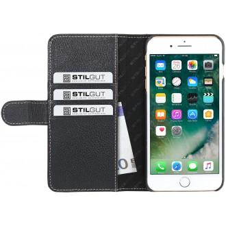 Etui iPhone 7 Plus Porte-cartes grainé noir en cuir véritable - Stilgut