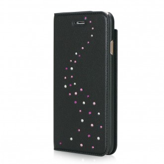 Etui iPhone 7 Primo Milky Way Rose Sparkles en cuir véritable et strass Swarovski - Bling My Thing