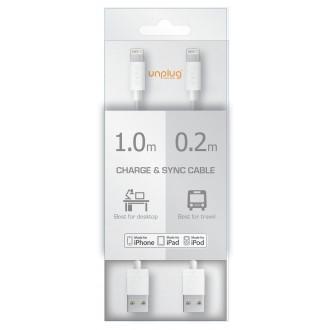 Pack de 2 Câbles USB vers Lightning Blanc 1m et 20cm - Unplug