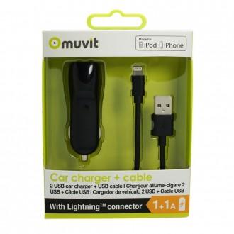 Chargeur allume-cigare noir 2 ports USB et câble USB vers Lightning Noir 1m - Muvit