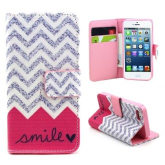 Etui iPhone SE / 5S /5 motif Smile Rose et Gris - Crazy Kase