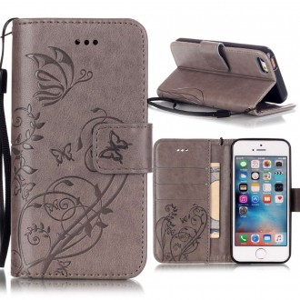 Etui iPhone SE / 5S / 5 motif Papillons Gris - Crazy Kase