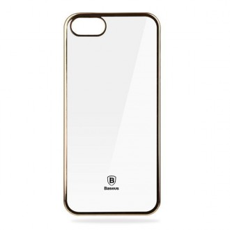 Coque iPhone SE / 5S / 5 Transparente souple contour Doré - Baseus