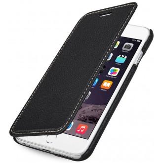 Etui iPhone 6 book type noir en cuir véritable sans clip de fermeture - Stilgut