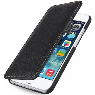 Etui iPhone 6 book type grainé noir en cuir véritable - Stilgut