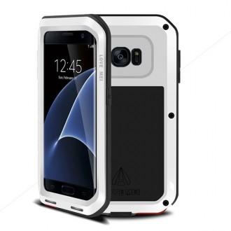 Coque Galaxy S7 Edge Etanche Antichocs Aluminium Blanche - LOVE MEI