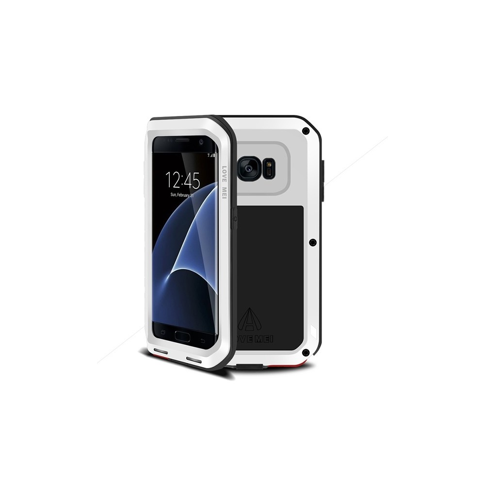 coque galaxy s7 edge etanche antichocs aluminium blanche love mei. Black Bedroom Furniture Sets. Home Design Ideas