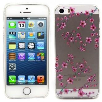 Coque iPhone SE / 5S / 5 Transparente souple motif Fleurs Japonaises - Crazy Kase