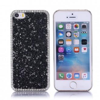 Coque iPhone SE / 5S / 5 strass Noirs et Blancs - Crazy Kase