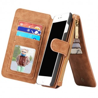 Etui Iphone 7 Plus Portefeuille multifonctions Marron - CaseMe