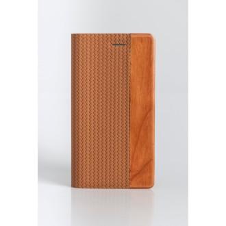 Etui Smartphone Universel 5 pouces porte-carte bi matière bois et PU marron clair- Taille XL - YAL