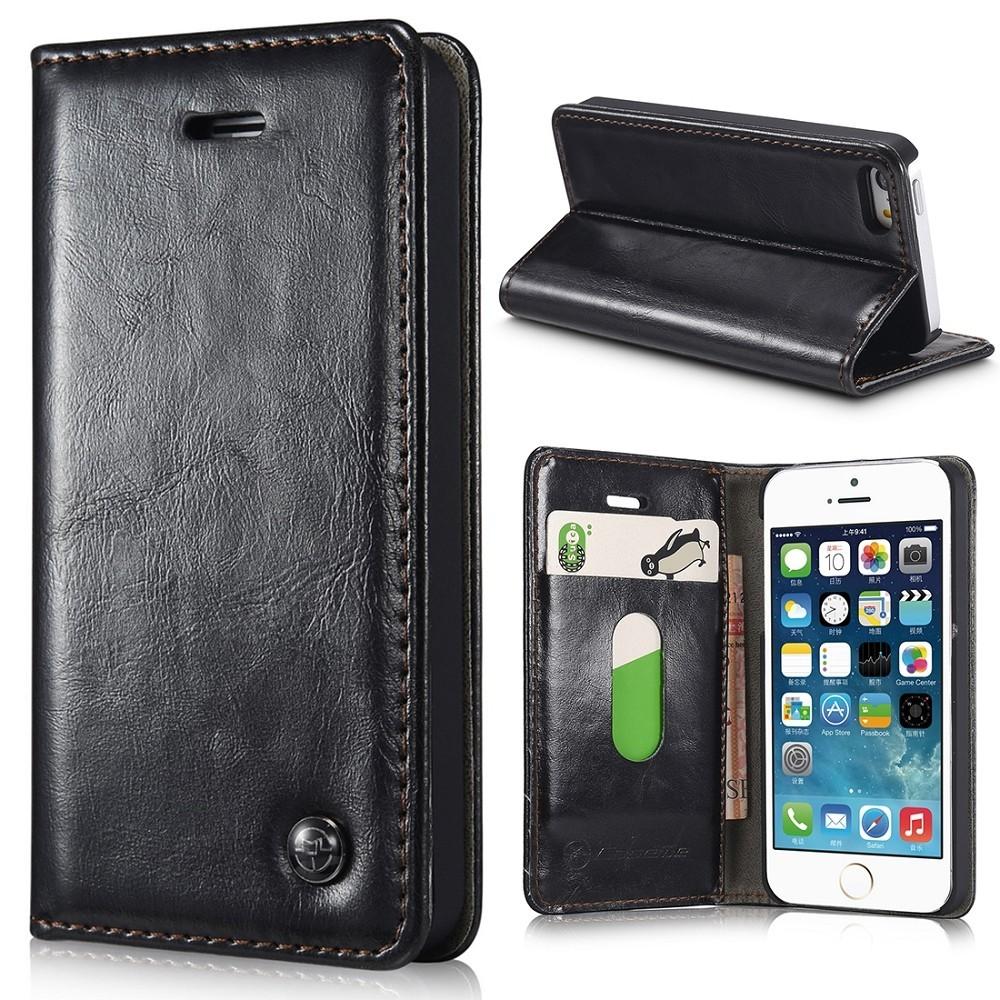 etui iphone se 5s 5 portefeuille noir caseme. Black Bedroom Furniture Sets. Home Design Ideas