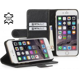 Etui iPhone 6 Plus portefeuille Talis cuir véritable noir- Stilgut