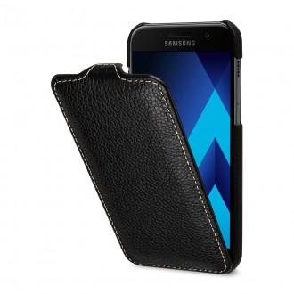 Etui Galaxy A3 (2017) UltraSlim en cuir véritable noir - StilGut