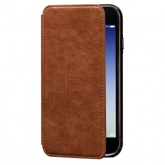 Etui iPhone 7 en cuir véritable Porte cartes marron - Sena Cases