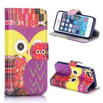 Etui iPhone SE / 5S / 5 porte cartes violet motif chouettes - Crazy Kase