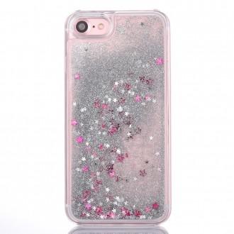 Coque iPhone 8 / iPhone 7 à Paillettes Argentées et Etoiles Roses - Crazy Kase