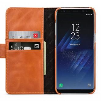 Etui Samsung S8 Plus Porte-cartes cognac en cuir véritable - Stilgut