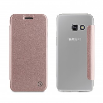 Etui Galaxy A3 (2017) Folio Rose Gold - Muvit