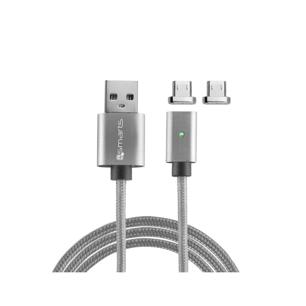 Câble USB vers connecteurs Micro USB magnétiques Gris 1 mètre - 4smarts