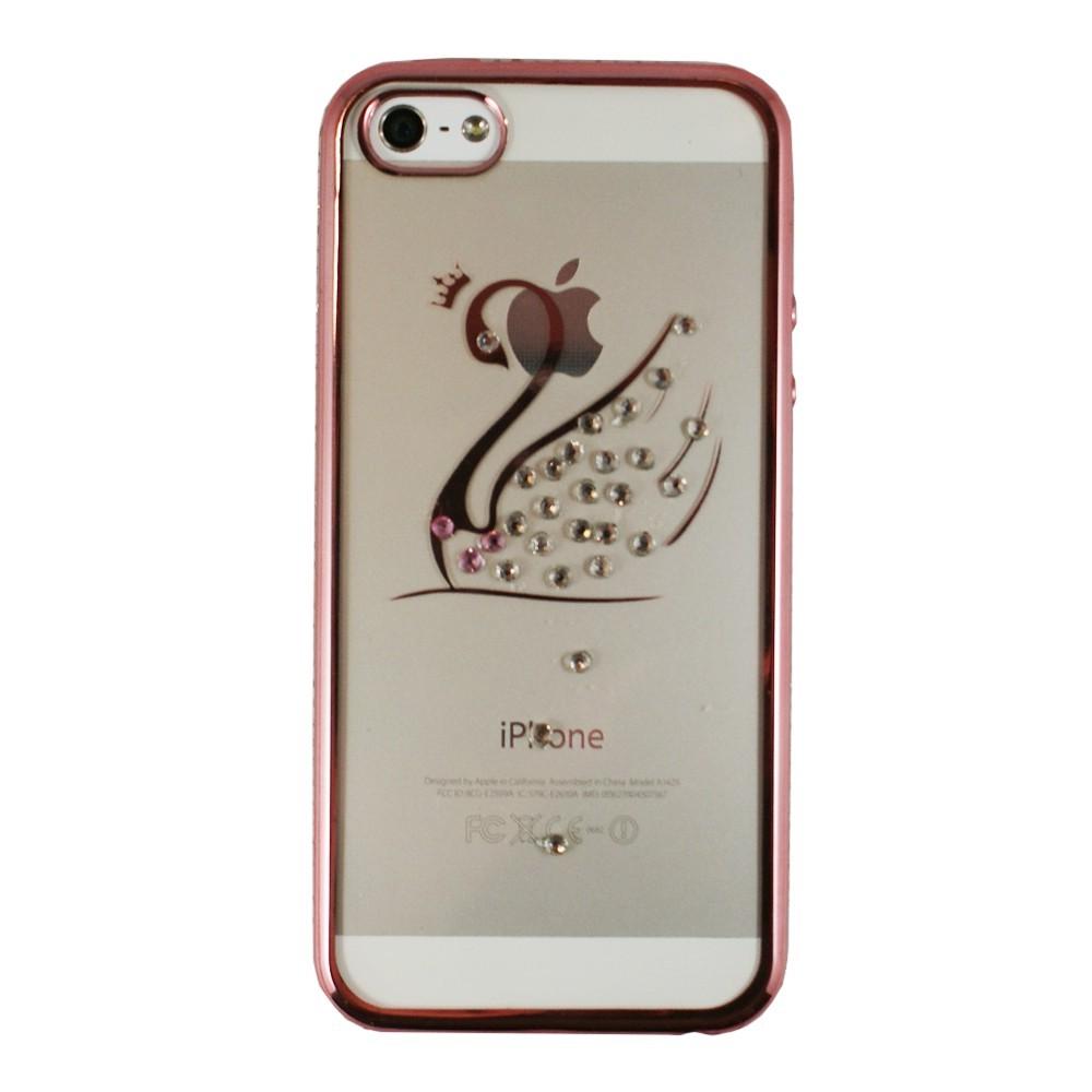 Coque iPhone SE / 5S / 5 souple motif Cygne contour Rose et Strass - Crazy Kase