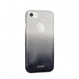 Coque iPhone 8 / iPhone 7 à paillettes noires et argentées - Kaku