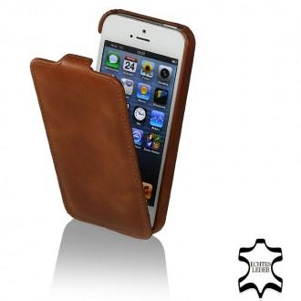 Etui iPhone SE / 5S / 5 ultraslim cognac en cuir véritable - Stilgut