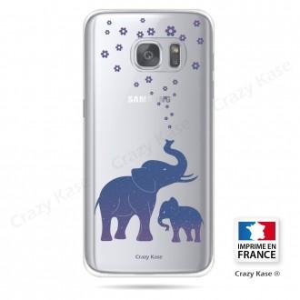 Coque Galaxy S7 Edge Transparente et souple motif Eléphant Bleu - Crazy Kase