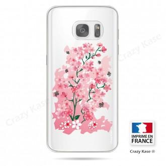 Coque Galaxy S7 Edge Transparente et souple motif Fleurs de Cerisier - Crazy Kase