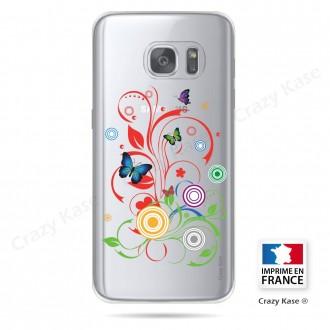 Coque Galaxy S7 Edge Transparente et souple motif Papillons et Cercles - Crazy Kase